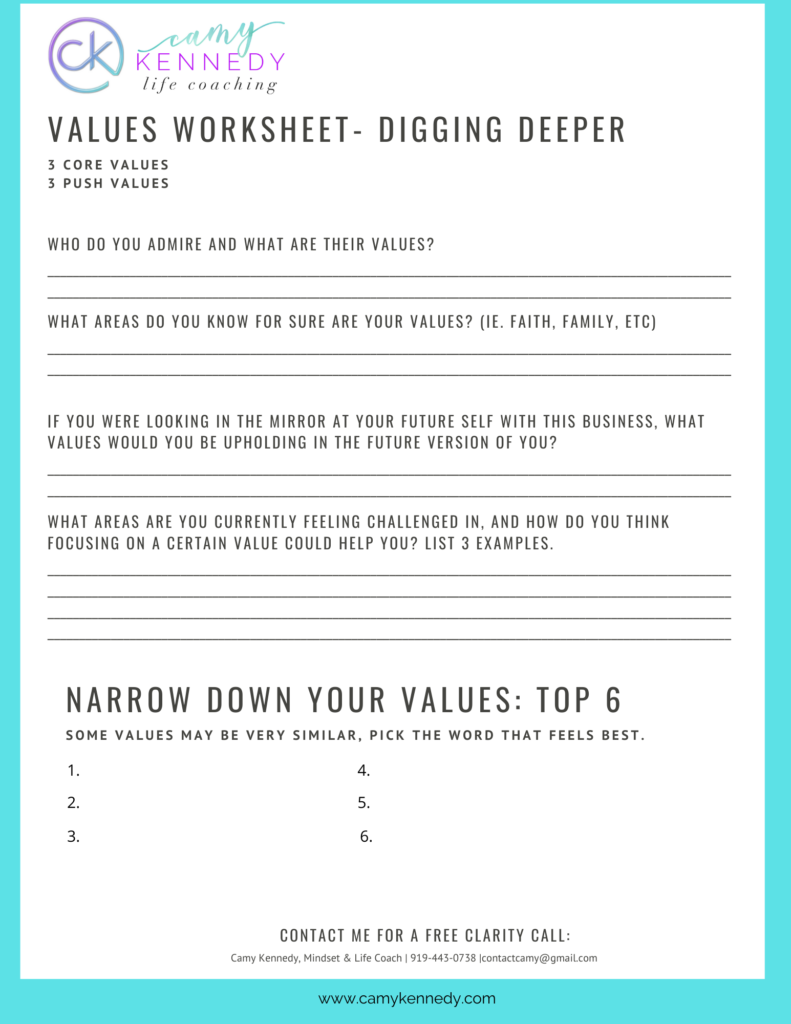 values worksheet